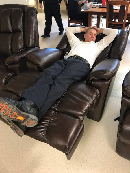 genuine leather firehouse recliner