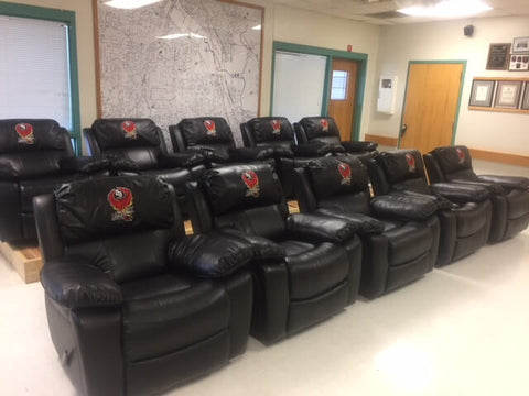 embroidered fire station recliner
