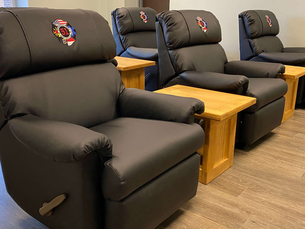 whispering pines fire department custom logo recliner