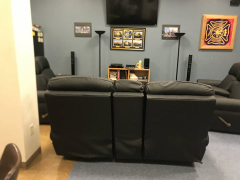 The Ultimate Firefighter Double Reclining Sofa in Mattydale Fire Department's Day Room