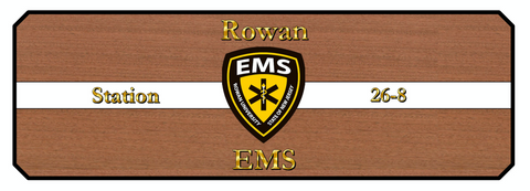Rowan University EMS custom logo dining table