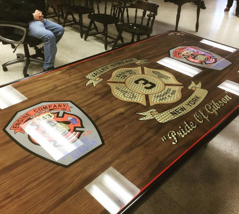 custom fire station dining table