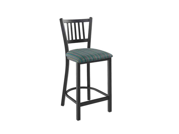 Firehouse Collection™ Vertical-Slat Metal Counter Height Stool - Padded Seat