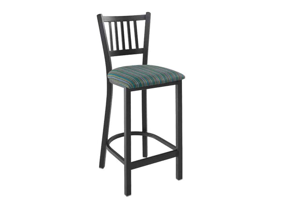 Firehouse Collection™ Vertical-Slat Metal Barstool - Padded Seat