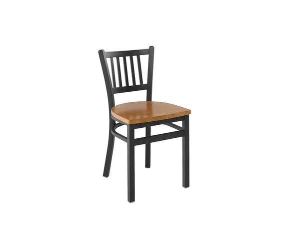 Firehouse Collection™ Vertical-Slat Metal Dining Chair - Wood Seat
