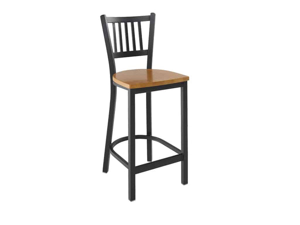 Firehouse Collection™ Vertical-Slat Metal Barstool - Wood Seat