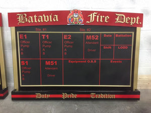 Custom Logo Firehouse Riding Assignment/Duty Board - Fire Station Furniture