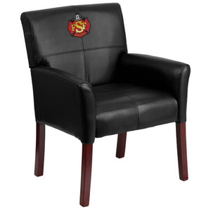 Duty-Built™ CUSTOM EMBROIDERED Leather Executive Side Reception Chair - FREE SHIPPING - Fire Station Furniture