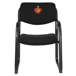 Duty-Built™ CUSTOM EMBROIDERED Fabric Executive Side Reception Chair w/Sled Base - FREE SHIPPING - Fire Station Furniture
