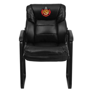Duty-Built™ CUSTOM EMBROIDERED Leather Executive Side Reception Chair w/Sled Base - FREE SHIPPING - Fire Station Furniture