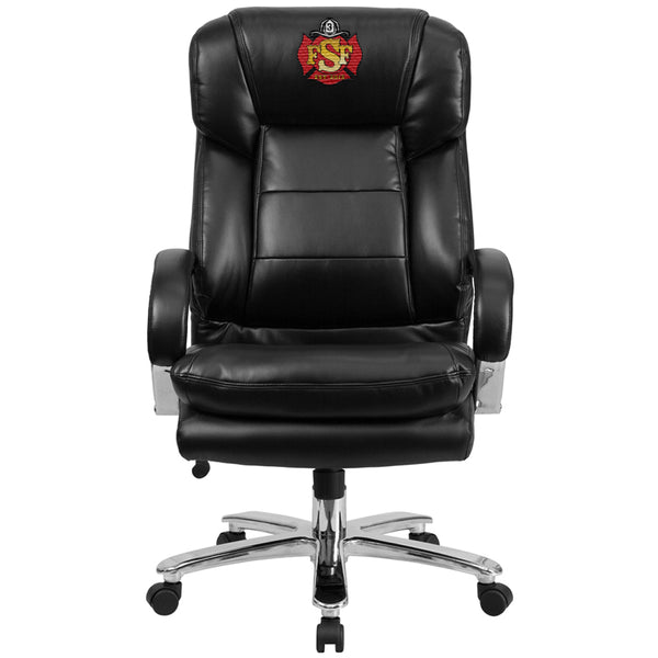 Duty-Built™ CUSTOM EMBROIDERED 500 lb. Black Leather Executive Swivel Chair - FREE SHIPPING - Fire Station Furniture