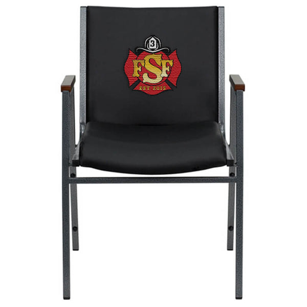 Duty-Built™ CUSTOM EMBROIDERED 550 lb. Capacity Heavy Duty Stack Chair with Arms - FREE SHIPPING - Fire Station Furniture