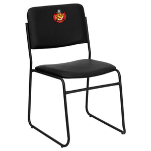 Duty-Built™ CUSTOM EMBROIDERED 1000 lb. Capacity High Density Stacking Chair with Sled Base - FREE SHIPPING - Fire Station Furniture