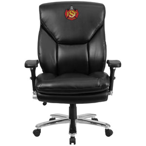Duty-Built™ CUSTOM EMBROIDERED 400 lb. Rated Black Leather Ergonomic Office Chair with Lumbar Knob - FREE SHIPPING - Fire Station Furniture