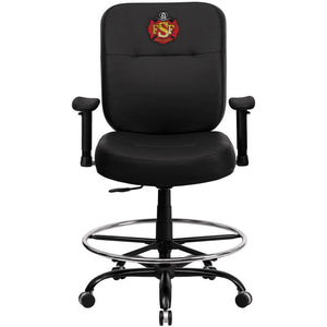 Duty-Built™ CUSTOM EMBROIDERED Leather Ergonomic Drafting Chair - FREE SHIPPING - Fire Station Furniture