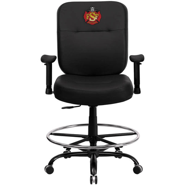 Duty-Built™ CUSTOM EMBROIDERED Leather Ergonomic Drafting Chair w/arms - FREE SHIPPING - Fire Station Furniture
