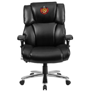 Duty-Built™ CUSTOM EMBROIDERED 400 lb. Capacity Black Leather Executive Lumbar Ergonomic Office Chair - FREE SHIPPING - Fire Station Furniture