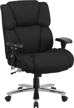 Duty-Built™ 400 lb. Rated Black Leather Executive Lumbar Ergonomic Office Chair - FREE SHIPPING - Fire Station Furniture