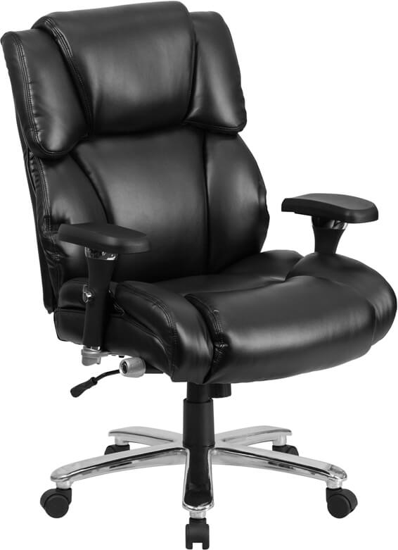 Duty-Built™ 400 lb. Rated Black Leather Executive Lumbar Ergonomic Office Chair - FREE SHIPPING