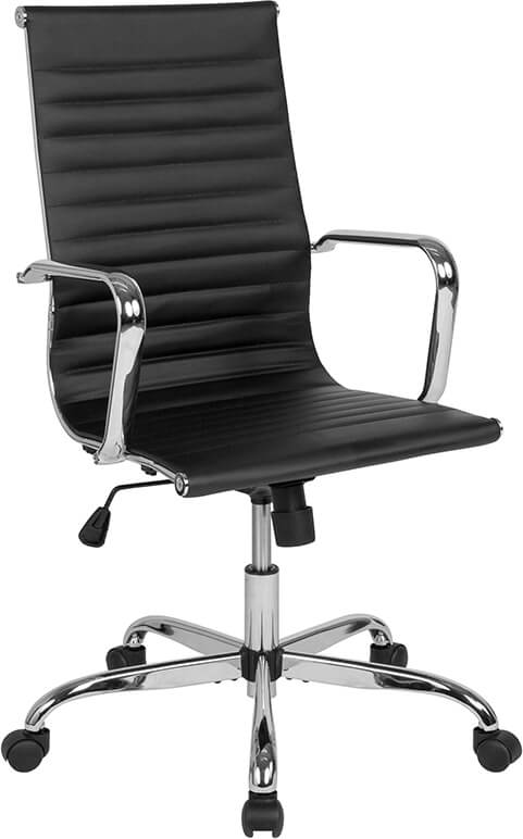 Duty-Built™ Station Basics High-Back Ribbed Swivel Office Chair with Spring-Tilt Control and Arms - FREE SHIPPING