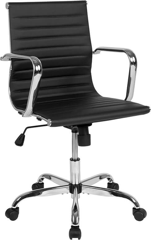 Duty-Built™ Station Basics Mid-Back Ribbed Swivel Office Chair with Spring-Tilt Control and Arms - FREE SHIPPING