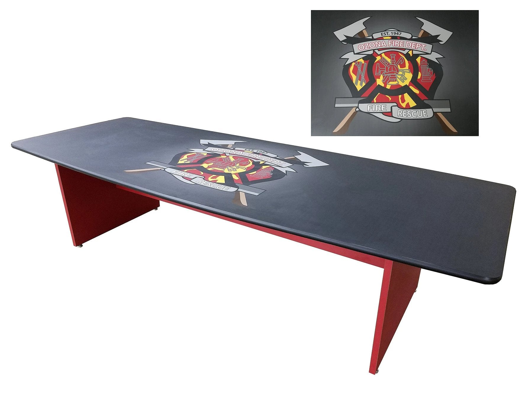 Custom Fire Fighter Triangle #3 Graphic 8 Ft Tailgate Table