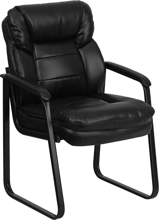 Duty-Built™ Leather Executive Side Reception Chair w/Sled Base - FREE SHIPPING - Fire Station Furniture