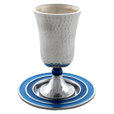 2 Piece Hammered Kiddush Cup Set