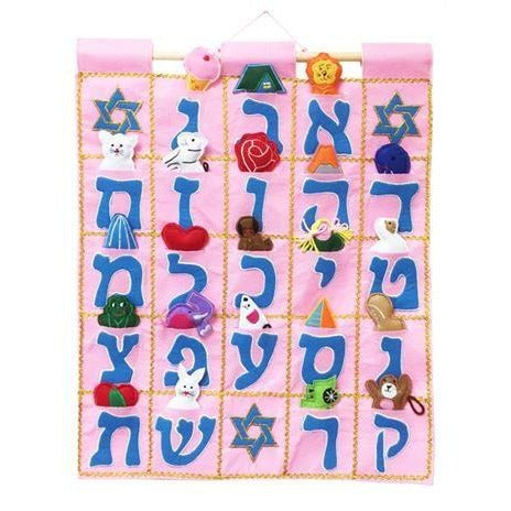 Aleph Bet Wallhanging Pink