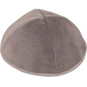 4 Part Grey Kippah with Rim (Various Sizes)