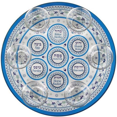 Light Blue Glass Passover Plate