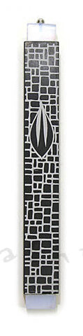 Anodized Aluminum Mezuzah with Black Stone Pattern