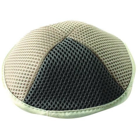 Beige and Gray Net Kippah
