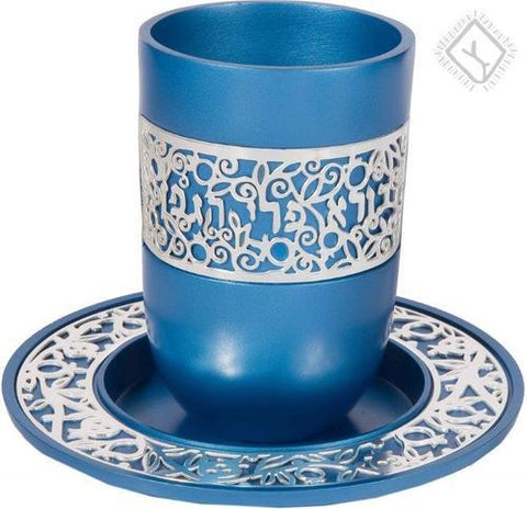 Blue Kiddush Cup with Lace