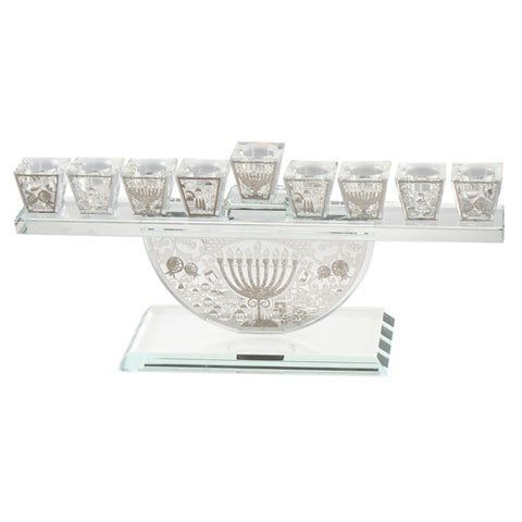 Channukah Themed Cut Out Crystal Menorah
