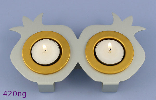 Double Rimon Sabbath Candle Holder