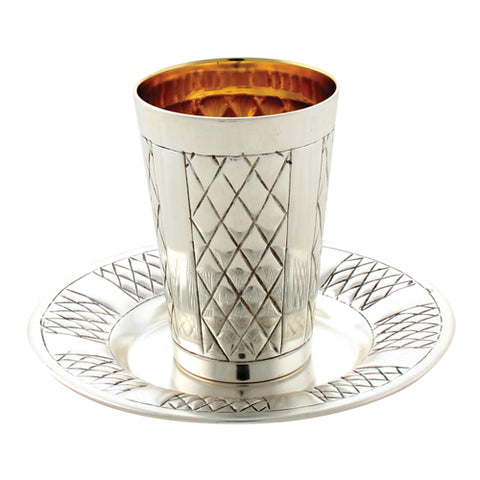Elegant Silver Kiddush Cup with Tray