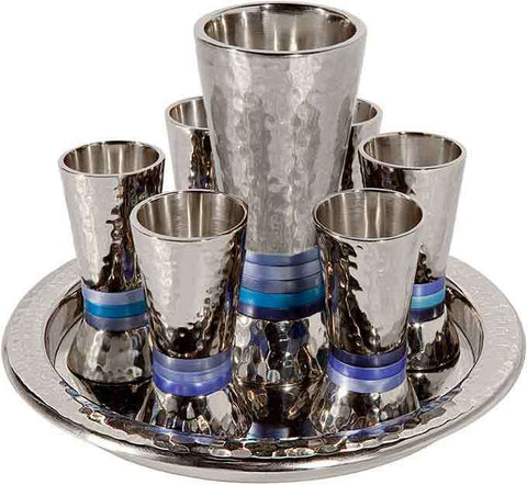 Emanuel Hammered Kiddush Set with Blue Rings