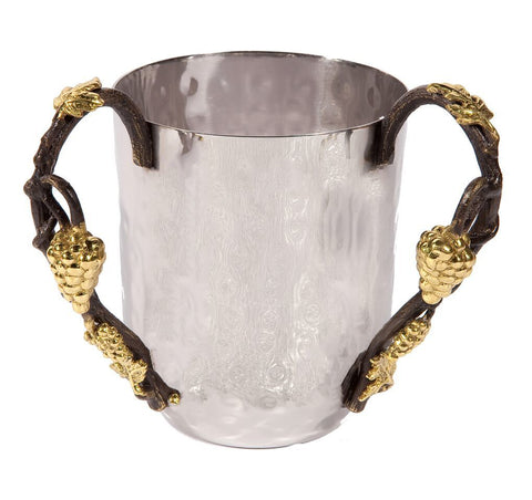 Emanuel Hammered Washing Cup with Grape Branches