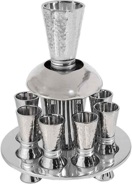 Emanuel Hammered Kiddush Fountain Cone Shape with Silver Rings