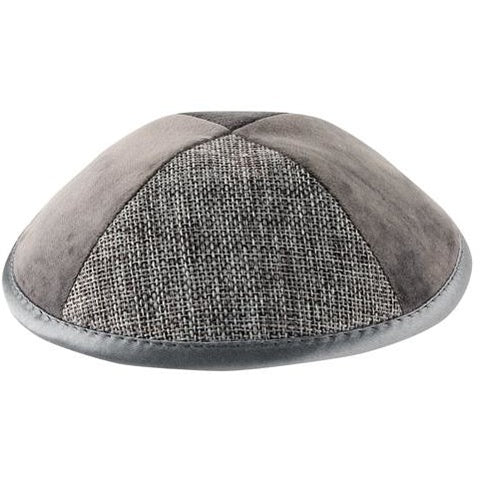 Grey Suede and Linen Kippah