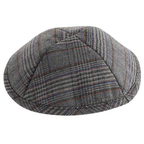Grey and Blue Plaid Kippah