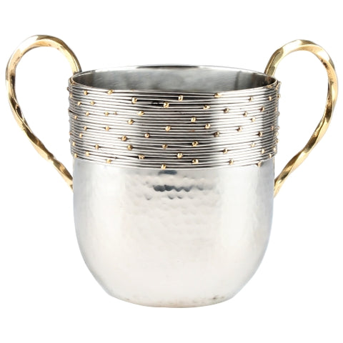 Silver Hammered Aluminium Washing Cup 16 CM