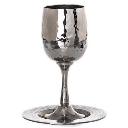 Hammered Kiddush Cup With Tray