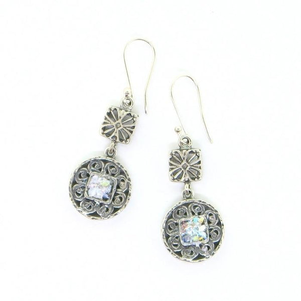 Round Roman Glass Earrings
