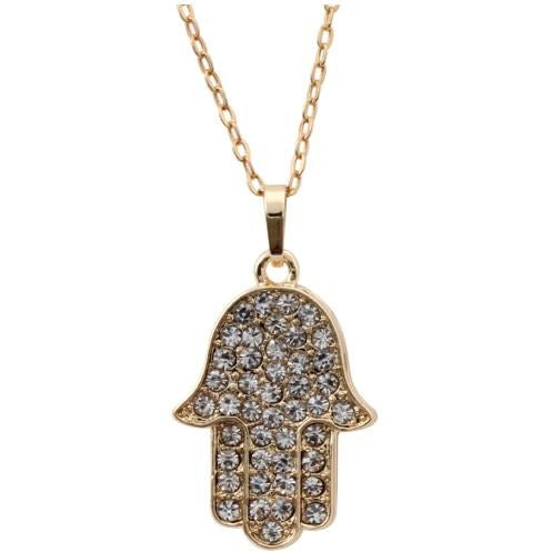 Hamsa Necklace with Diamonds (Various Colors)