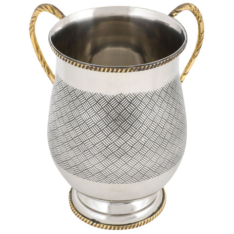 Aluminum Wash Cup with Black Criss-Cross