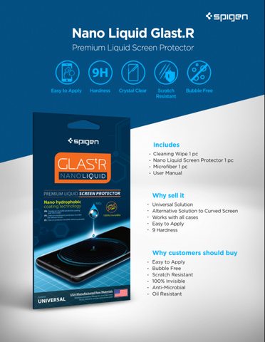 new product d425d 50571 Spigen GLAS.tr Nano Liquid Screen Protection