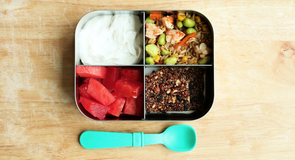 kids lunchbox with watermelon fried rice and yogurt