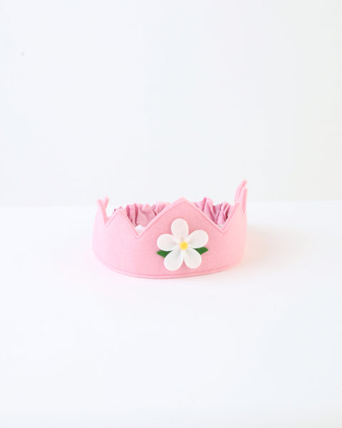 Wool Felt Crown — Pink Flower